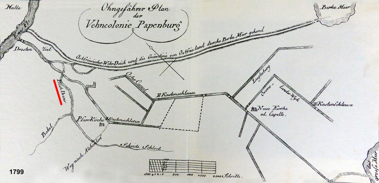 Papenburg mit Dever Bach 1799